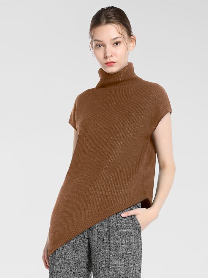 APART Pullover mit asymmetrischem Saum, karamell