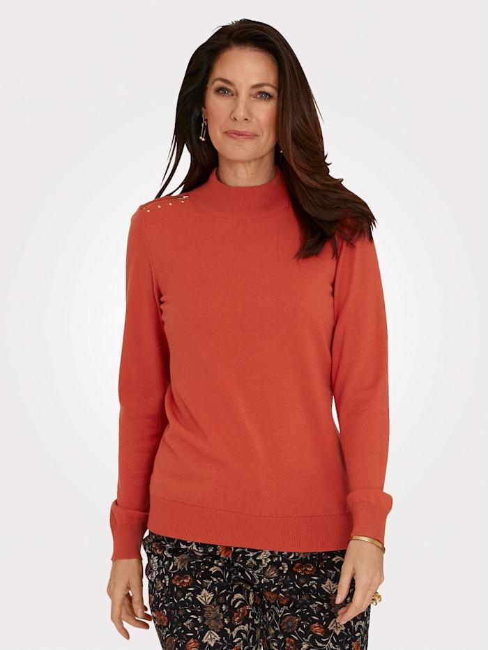 MONA Pullover mit dekorativer Schulterpasse, Orange