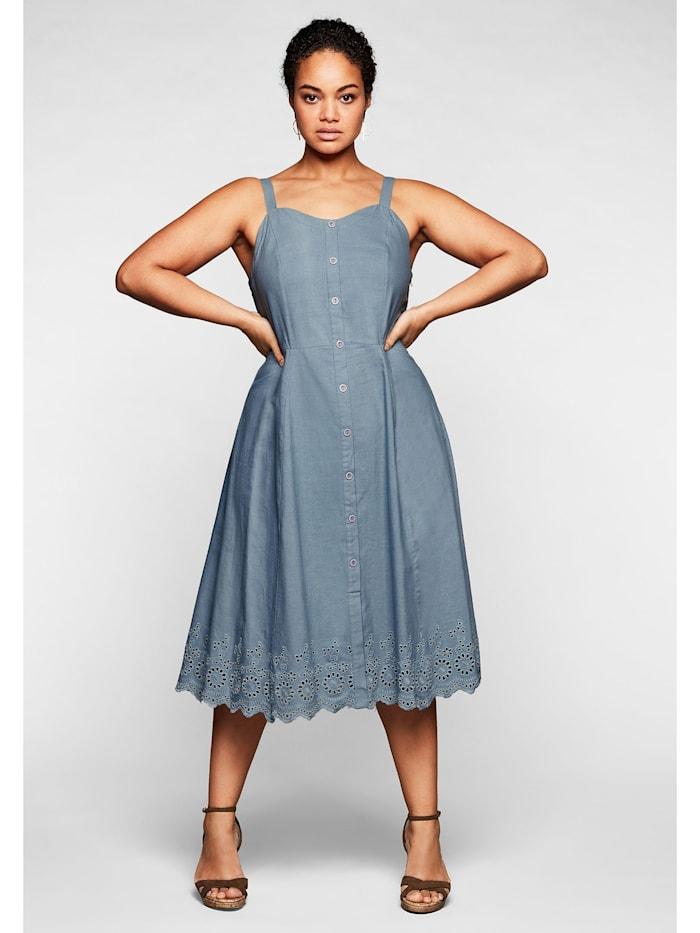 sheego by Joe Browns Kleid mit Zierknopfleiste und Lochstickerei, hellblau