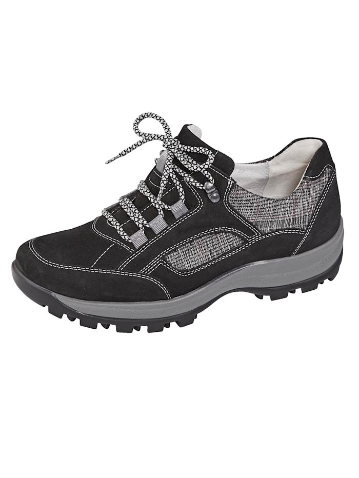 Waldläufer Chaussures de trekking en cuir nubuck/textile, Noir