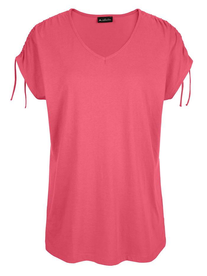 m. collection Shirt mit Raffung am überschnittenen Ärmel, Koralle
