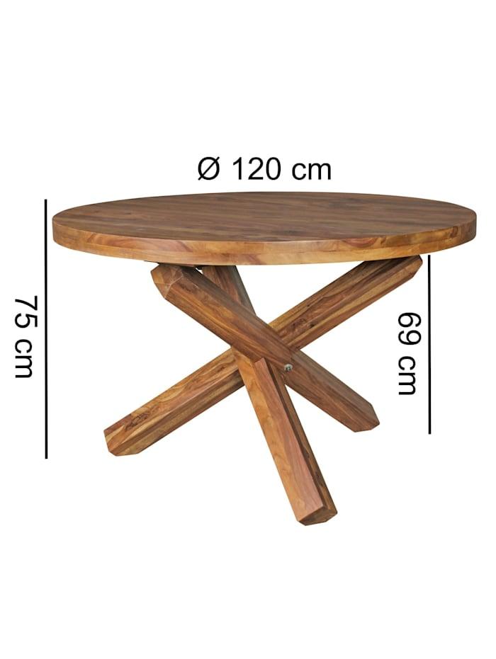 Esszimmertisch rund Ø 120 cm x 75 cm Massivholz Esstisch 4 Personen Küchentisch Tisch für Esszimmer
