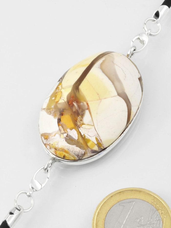 1001 Diamonds Damen Schmuck Edelstein Brekzien Mookait Anhänger 925 Silber beige, beige