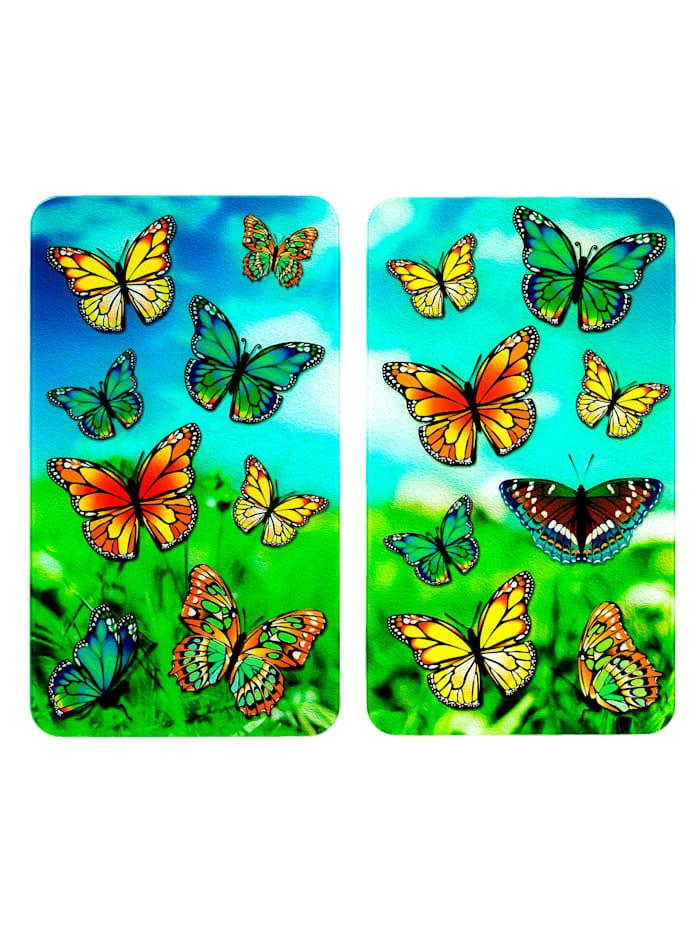 Wenko 2 komfyrdekkeplater -Sommerfugler-, multicolor