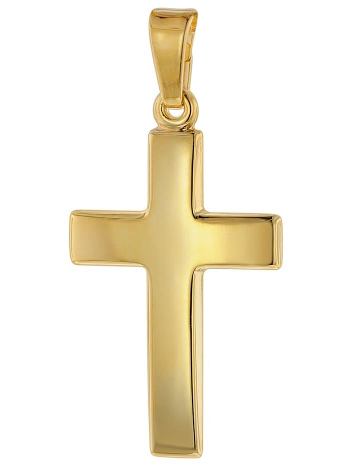 trendor Kreuz-Anhänger 21 mm Gold 750 / 18 Karat, Goldfarben