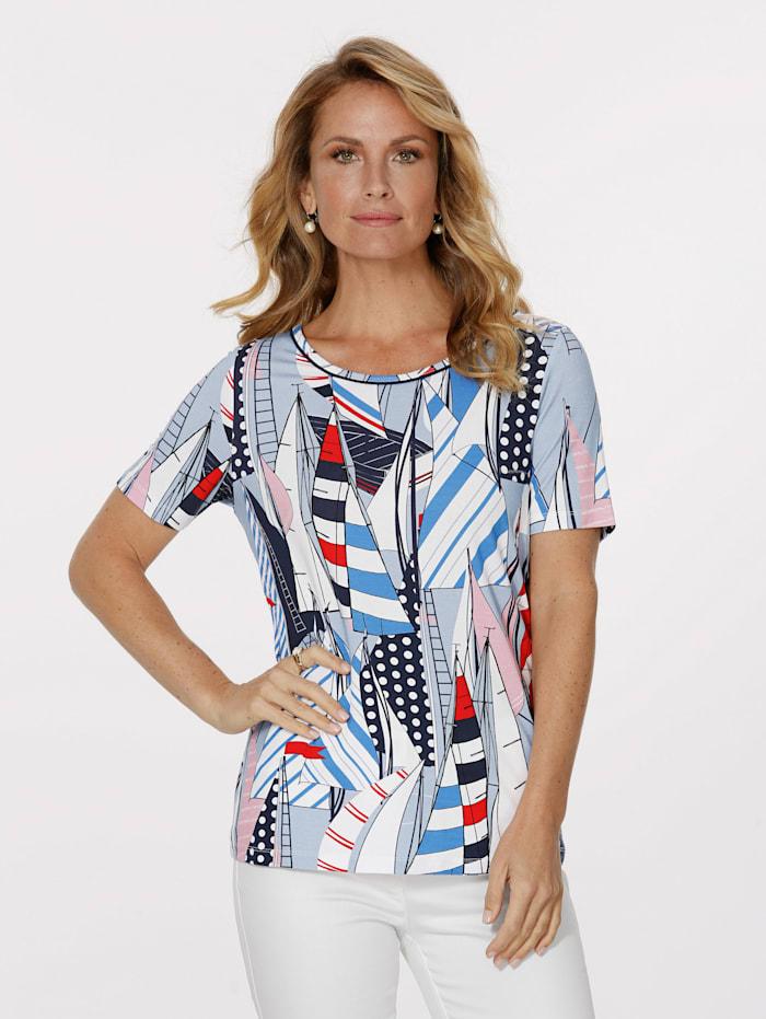MONA T-shirt à superbe imprimé, Bleu ciel/Blanc/Rouge