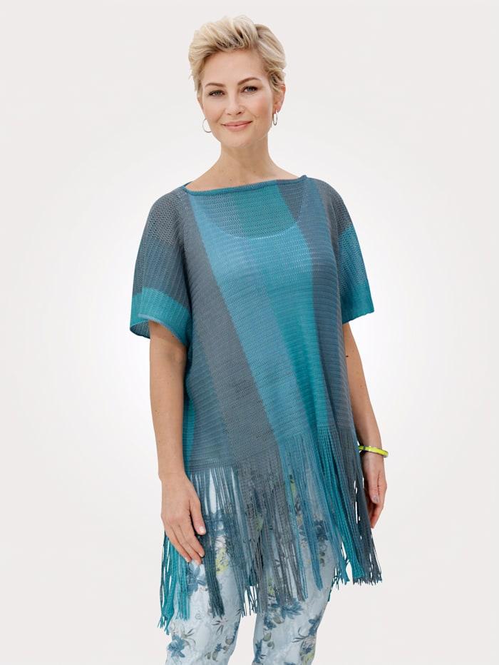 MONA Poncho met blokstrepen in harmonieuze kleuren, Turquoise/Petrol/Steen
