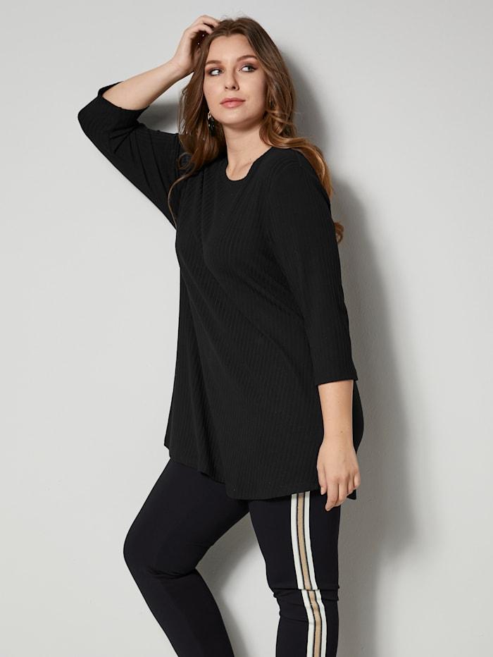 Sara Lindholm Shirt met afgeronde zoom, Zwart
