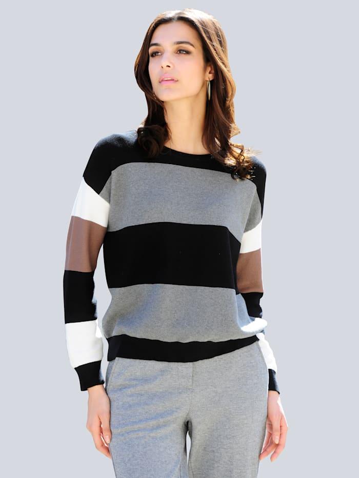 Alba Moda Pullover allover im Streifen-Dessin, Schwarz/Grau/Taupe/Off-white