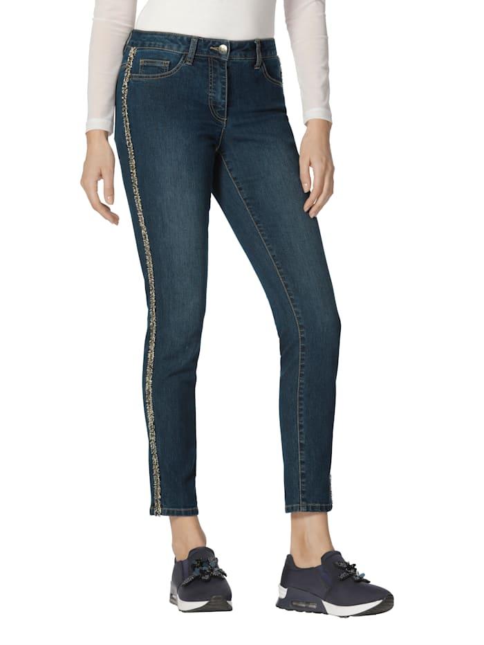AMY VERMONT Jeans mit seitlichem Zierband, Blau
