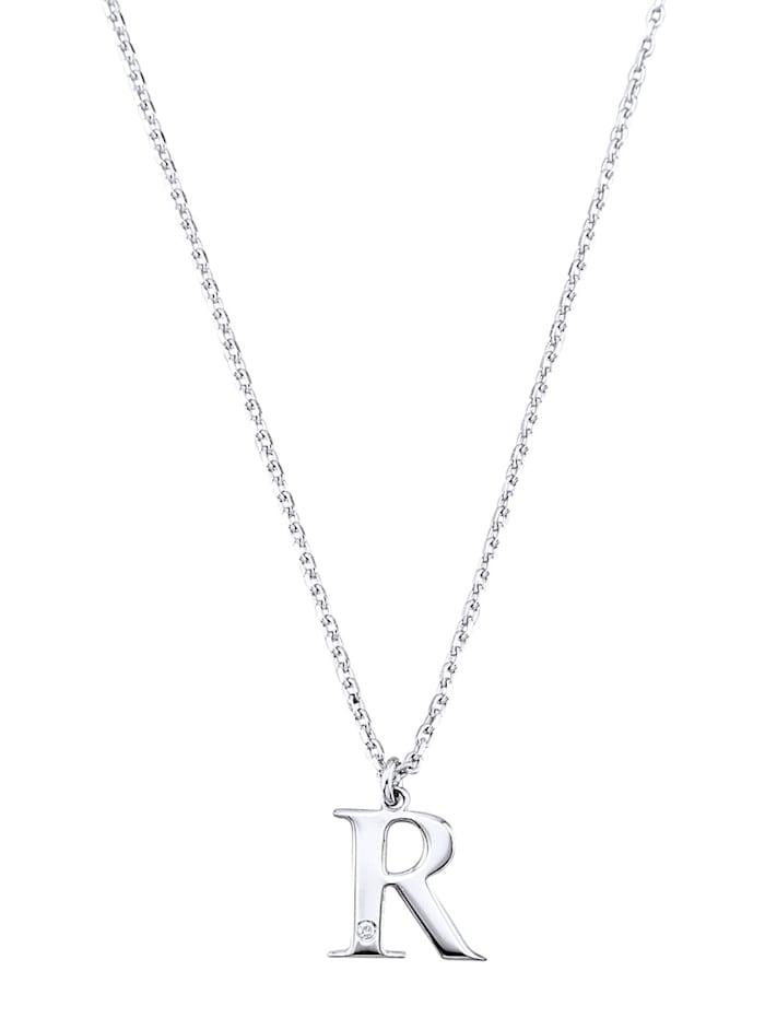 Collier Letter R met diamant, Zilverkleur