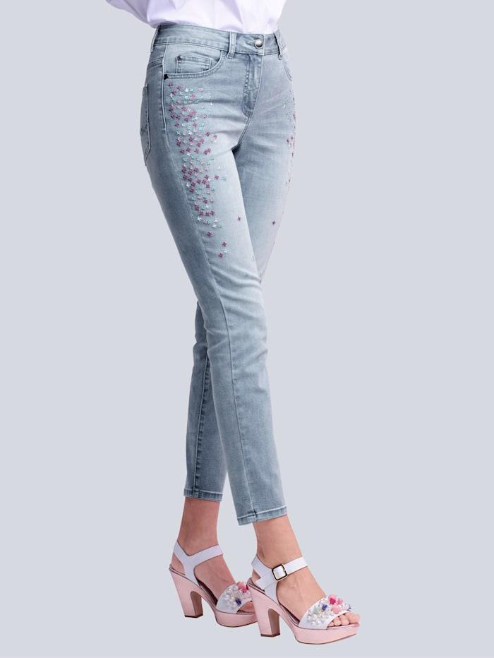 Alba Moda Jeans mit farbenfroher Stickerei im Vorderteil, Blue bleached