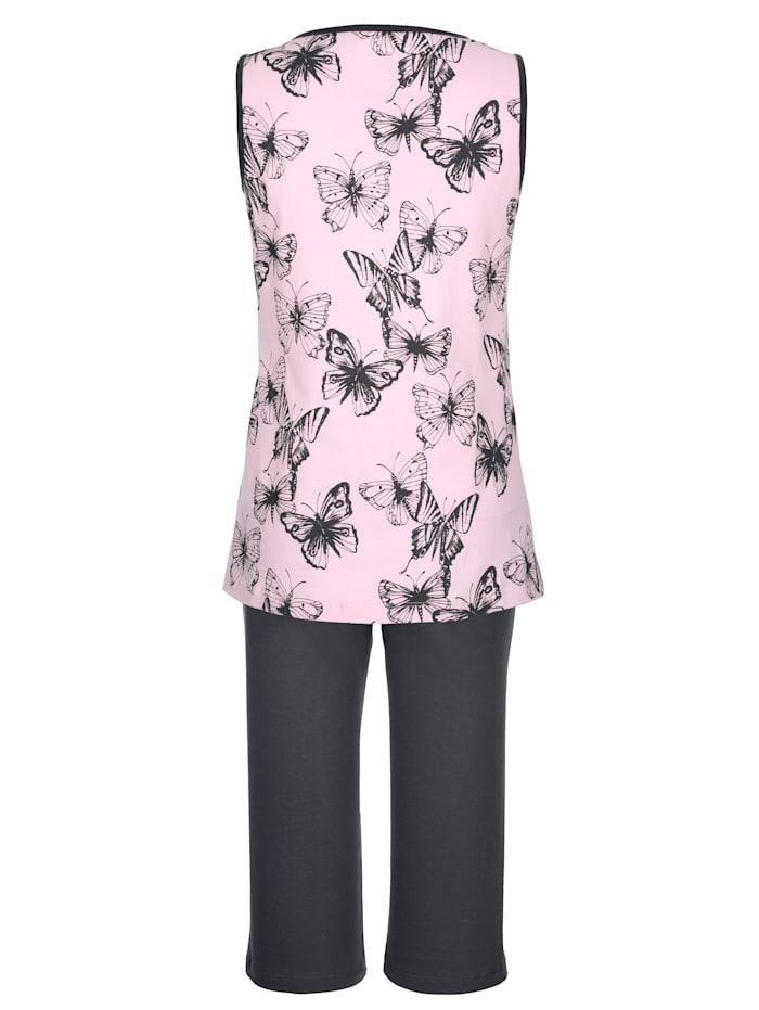 Pyjama met contrastkleurige paspels