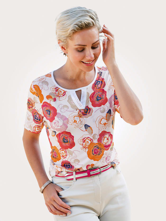 MONA T-shirt à motif floral, Blanc/Orange/Rose vif