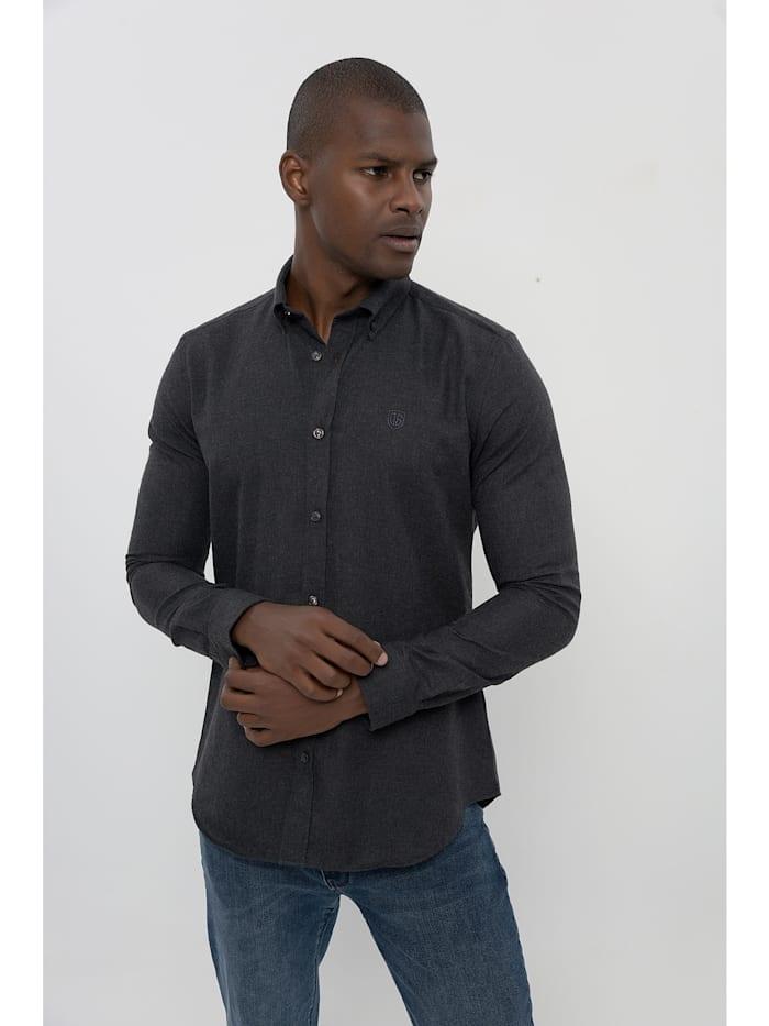 Jimmy Sanders Hemd Frantz mit meliertem Stoff, black