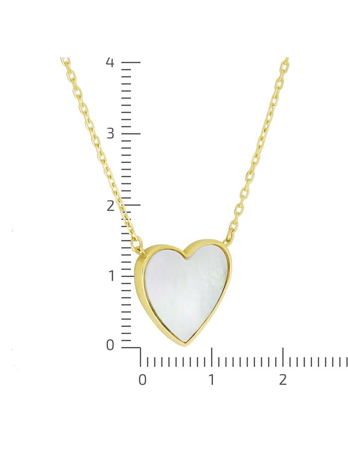 Collierkette 375/- Gold Perlmutt weiß 43+2cm Glänzend