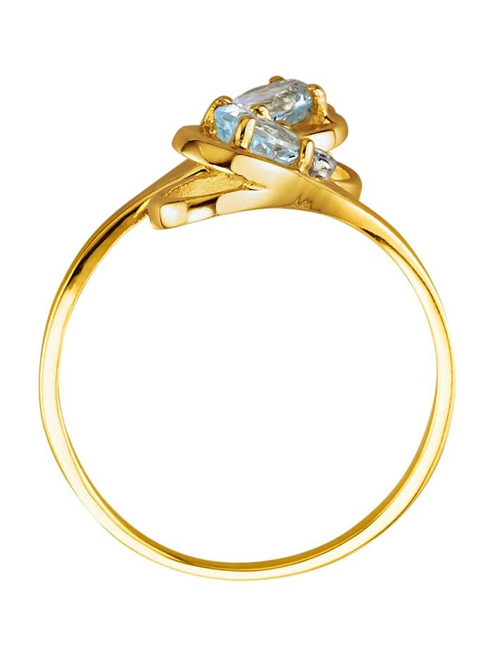 Ring med akvamariner och diamanter