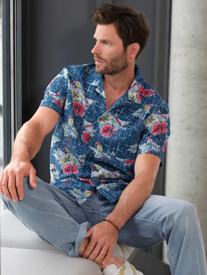 BABISTA Hawaiihemd in reiner Baumwolle, Blau/Multicolor