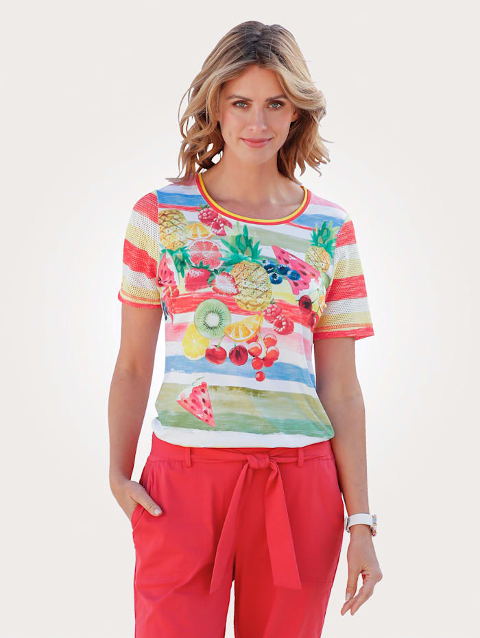 MONA Shirt in farbenfrohem Ringeldessin, Weiß/Multicolor