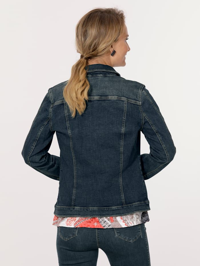 Denim jacket in a distressed finish