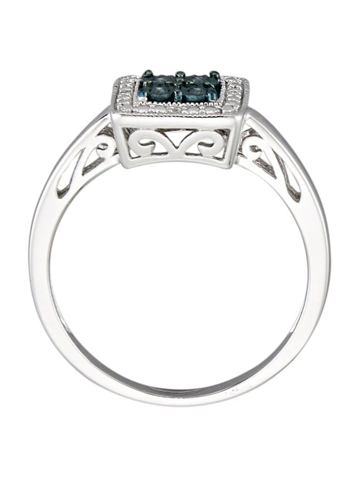 Hopeinen timanttisormus