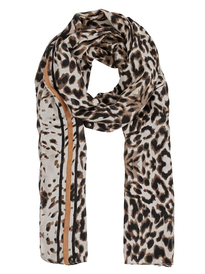 MONA Schal, beige-schwarz-cogn