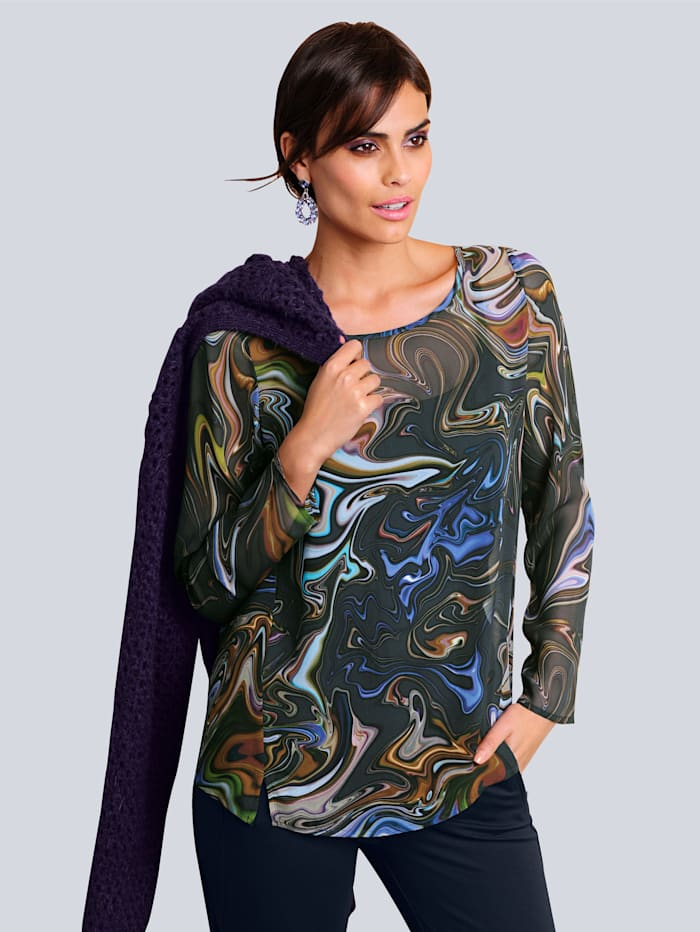 Alba Moda Bluse allover im farbenfrohen Marmor-Dessin, Violett