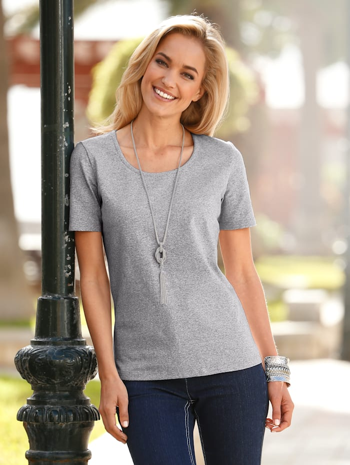 Dress In Shirt mit hohem Baumwollanteil, Silbergrau