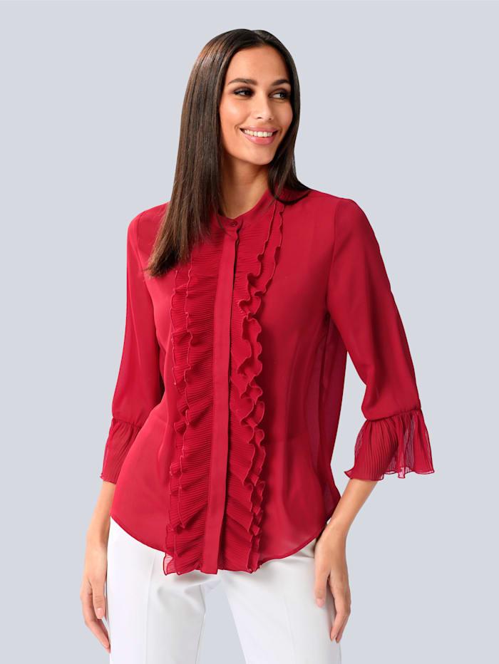 Alba Moda Bluse mit Volant Details, Rot