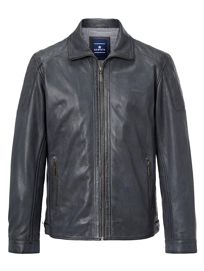 BABISTA Veste en cuir de style motard, Bleu