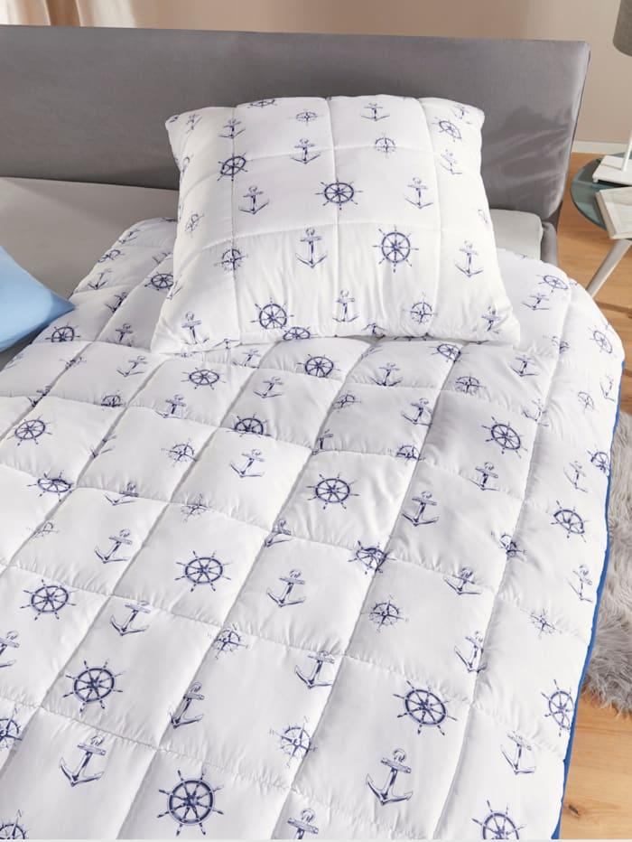 Kinzler Faser Bettenprogramm 'Maritim', weiss-blau