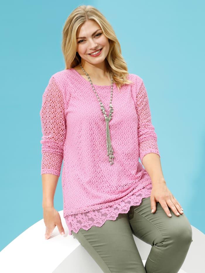 m. collection Shirt rundum aus modischem Netzstoff, Rosé