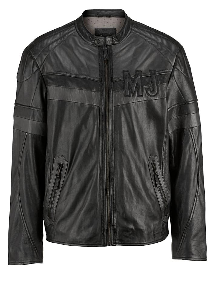 Mustang Leren jas met opstaande kraag, Zwart/Grijs