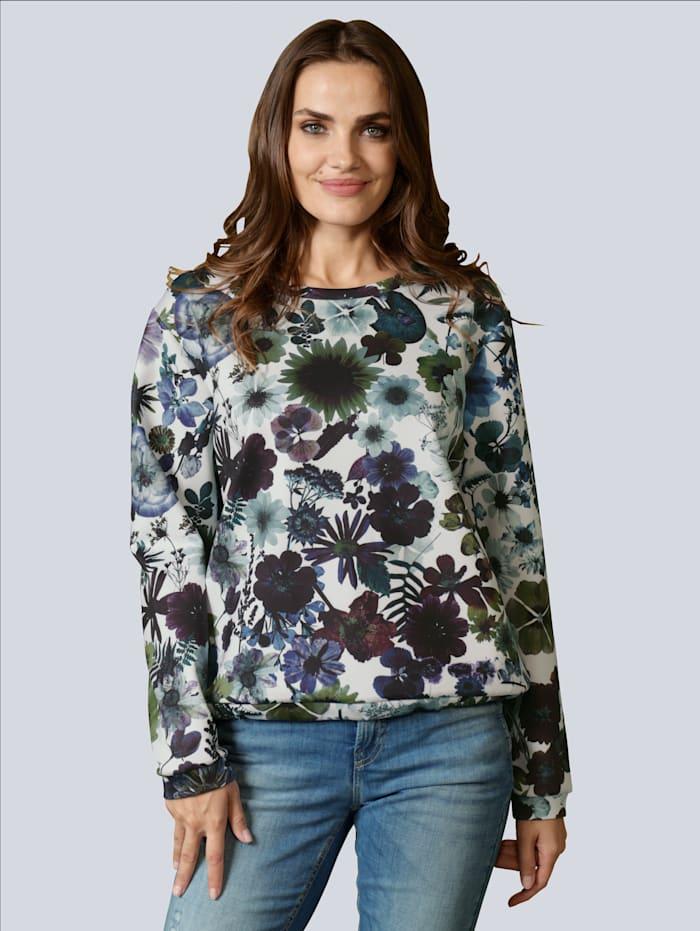 MARGITTES Sweatshirt allover im floralen Motiv, Weiß/Marineblau