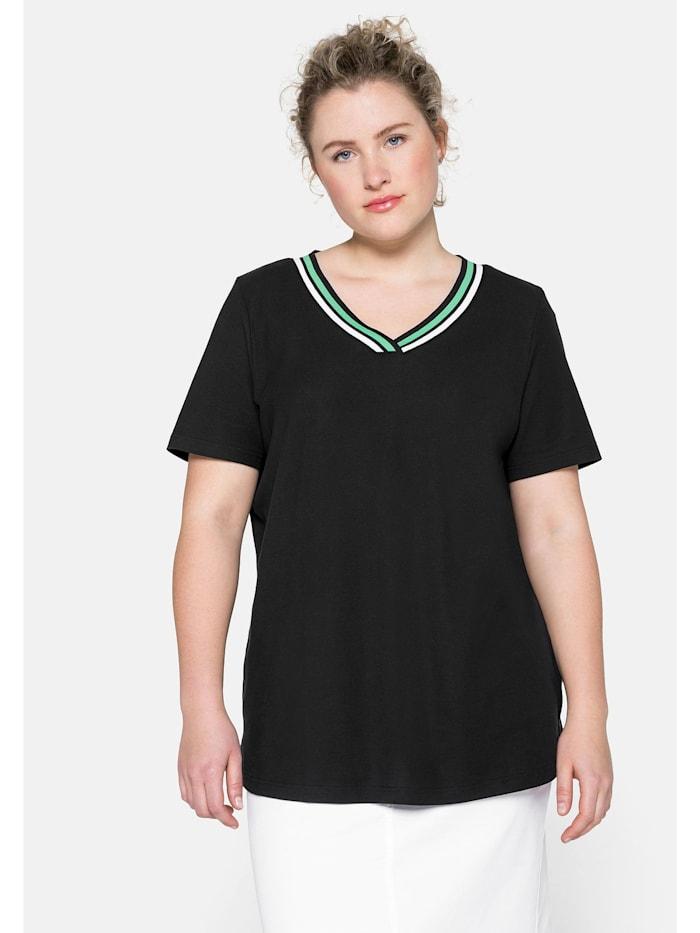 Sheego Sheego T-Shirt in Piqué-Qualität mit Kontrastdetails, schwarz