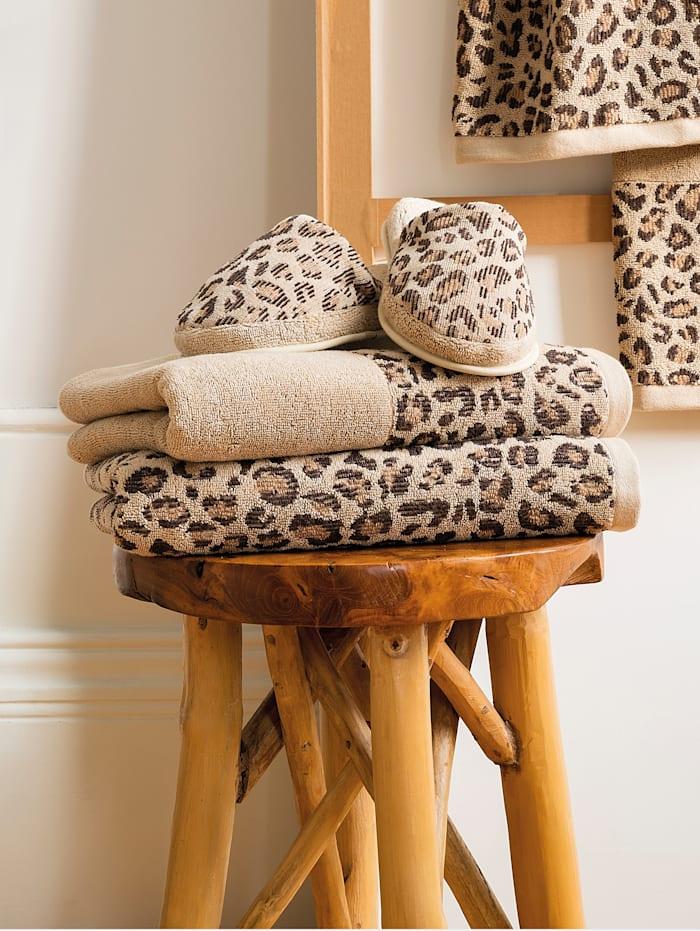 Kleinmann Leopardikuosiset kylpytossut pehmeää plyysiä, Beige