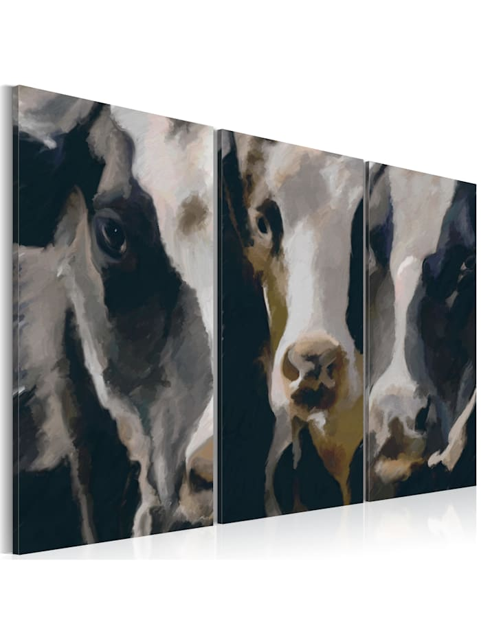 artgeist Wandbild Piebald cow, Beige,Schwarz,Weiß
