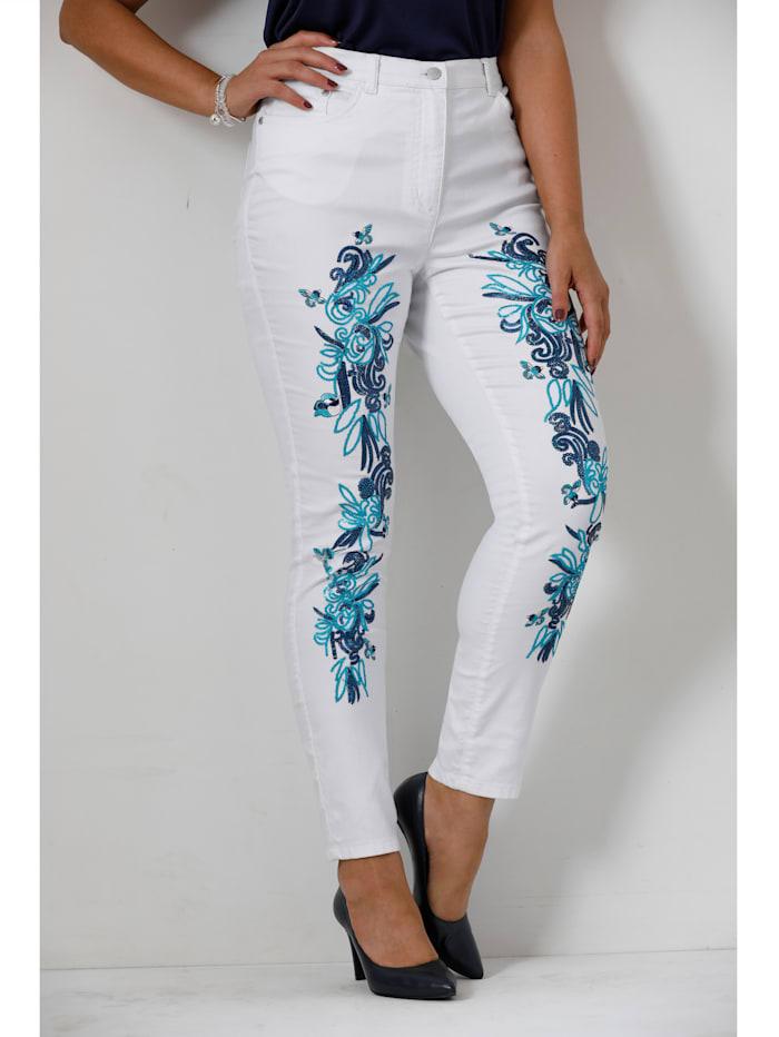 Hose mit aufwendiger Stickerei vorne