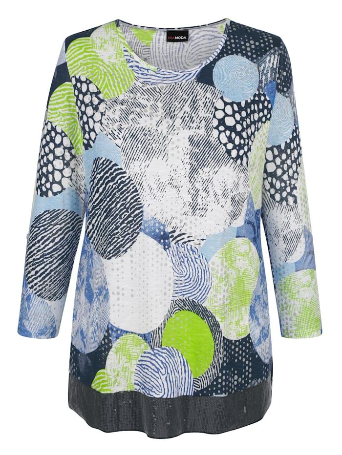 MIAMODA T-shirt en maille fine à motif graphique, Blanc/Bleu