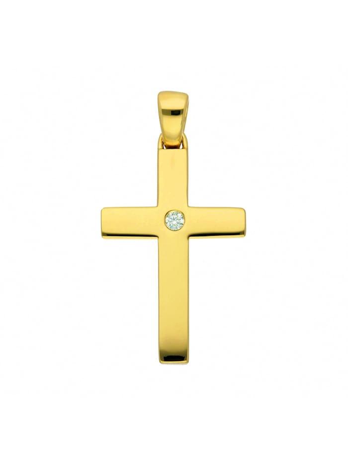 1001 Diamonds Damen & Herren Goldschmuck 585 Gold Kreuz Anhänger mit Brillant, gold