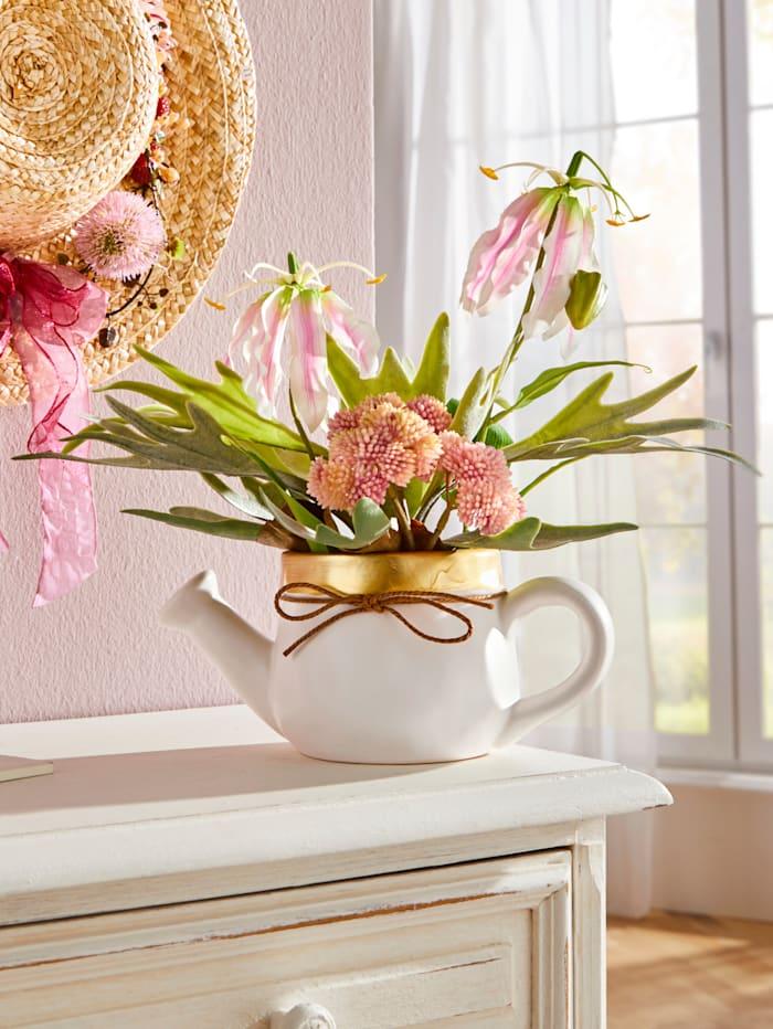 Blumen in Keramikgießkanne, mehrfarbig