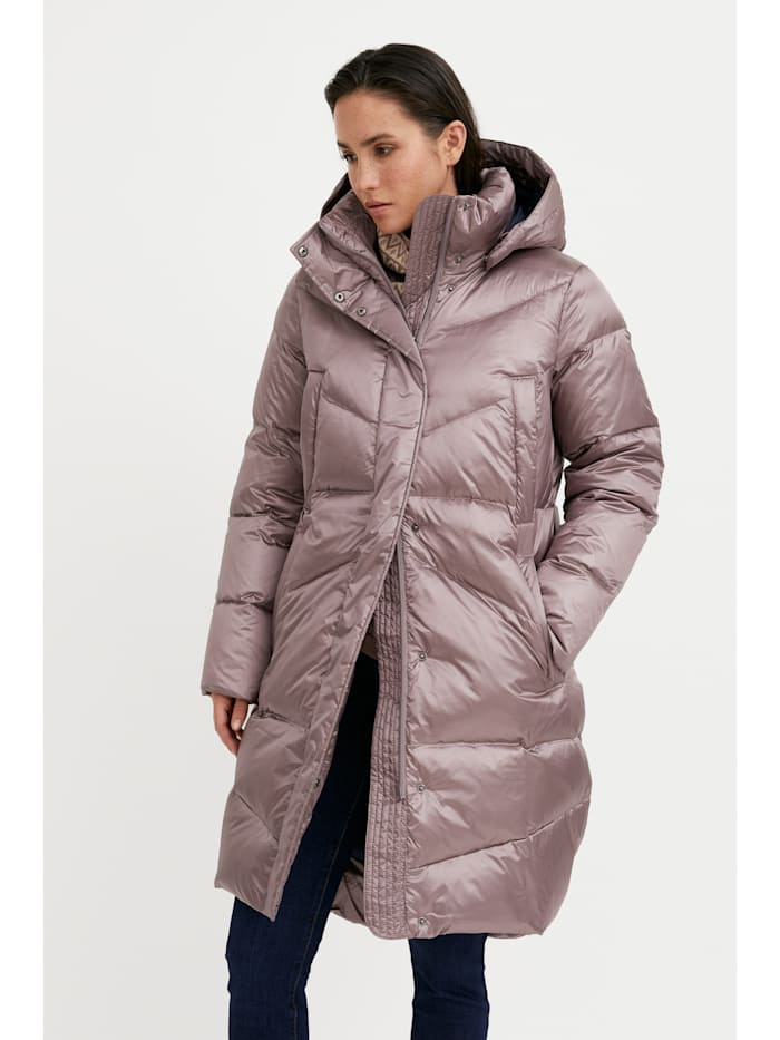 Finn Flare Daunenmantel mit abnehmbarer Kapuze, grey-pink
