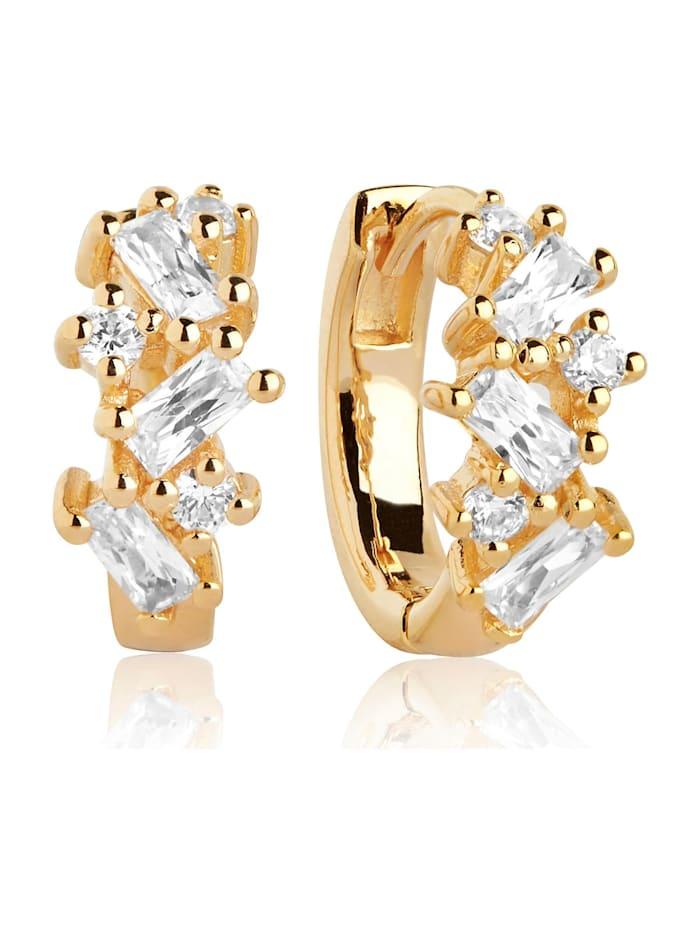 Sif Jakobs Sif Jakobs Jewellery Damen-Creolen Antella Creolo Piccolo 925er Silber Zirkonia, gelbgold