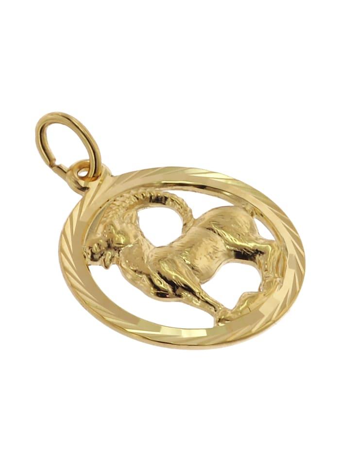 Sternzeichen Steinbock 333 Gold Anhänger Ø 16 mm