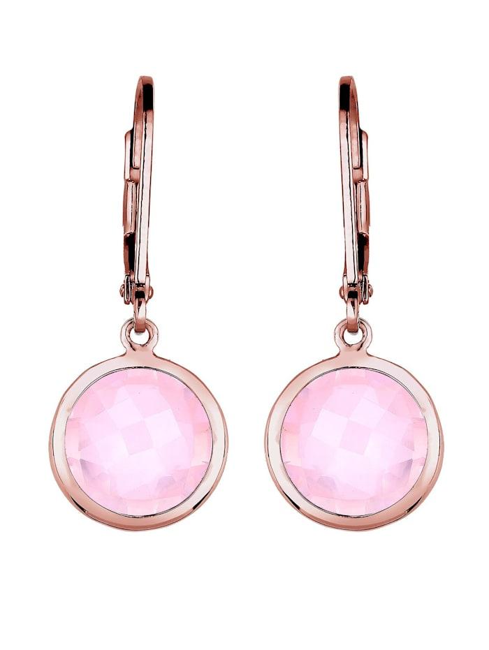 Ohrringe Rosenquarz Basic Klassisch Silber Rosé Vergoldet