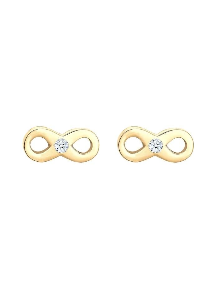 Ohrringe Infinity Liebe Diamant (0.03 Ct) 585 Gelbgold