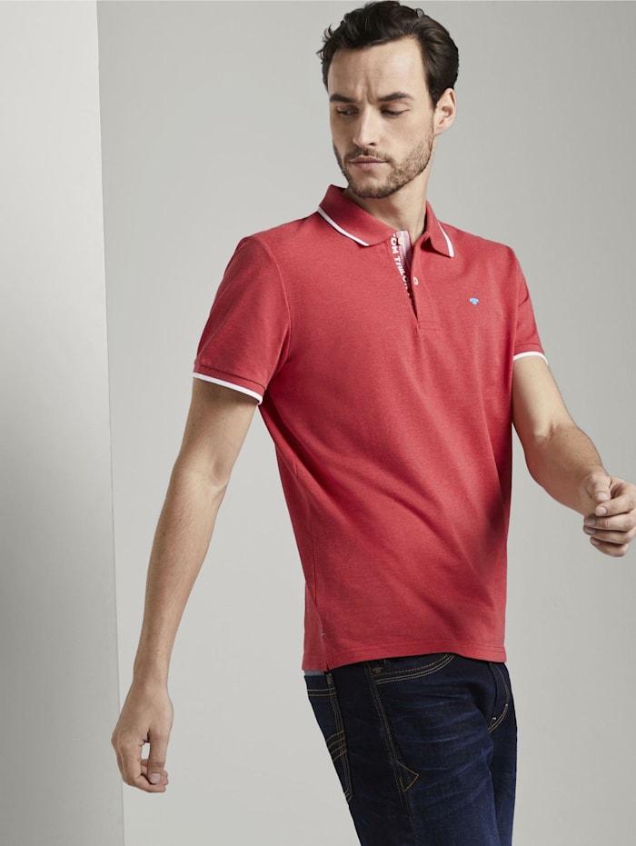 Tom Tailor Meliertes Poloshirt, Brilliant Red Melange