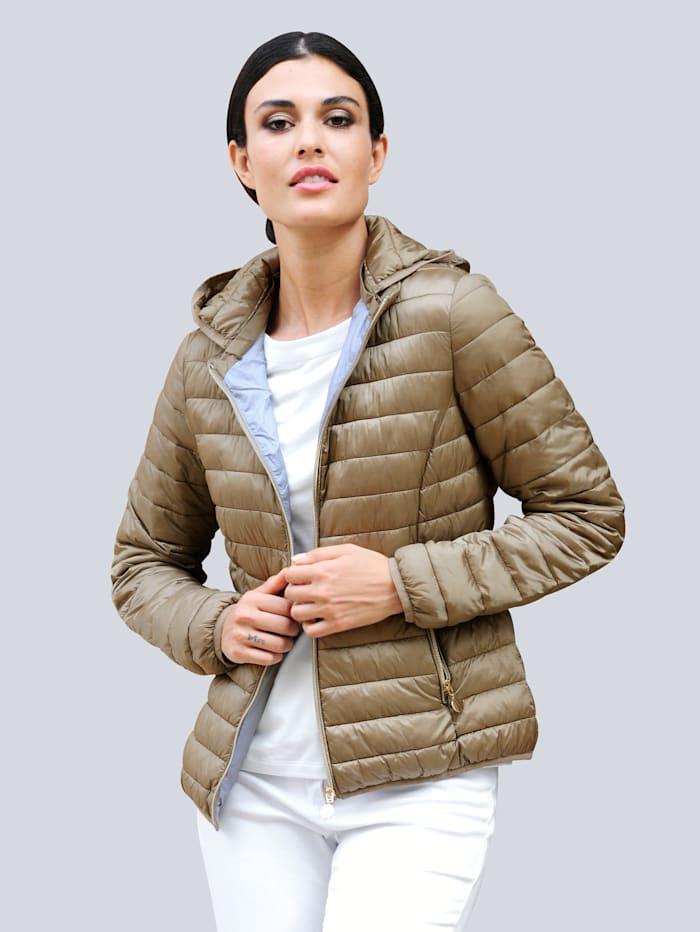 Alba Moda Gewatteerde jas met afneembare capuchon, Taupe