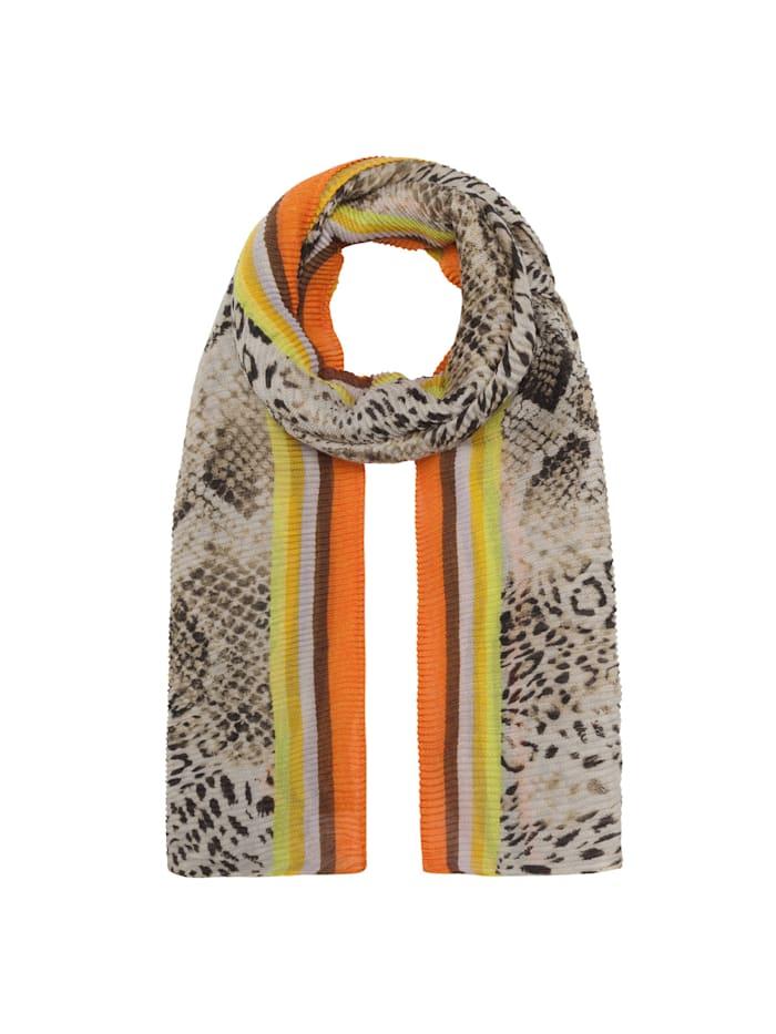 Codello Plissee-Schal mit Schlangen-Print aus recyceltem Polyester, camel
