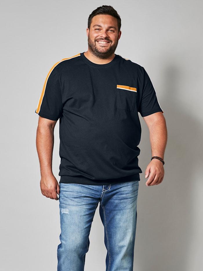 Men Plus T-Shirt aus reiner Baumwolle, Marineblau/Gelb/Weiß